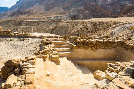 Caves of Qumran, manuscripts of the Dead Sea. Stock Photo