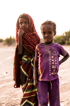 Mekelle, Ethiopia - NOVEMBER 27, 2017: Children living in the desert. Danakil Depression. Editorial