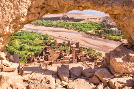 View of Ait Benhaddou Kasbah, Ait Ben Haddou, Ouarzazate, Morocco Stockfoto