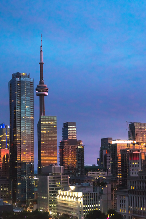 Toronto skyline at sunset in Ontario, Canada. North America.