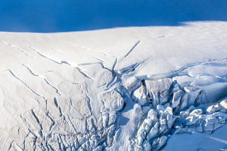 Mount Cook, New Zealand. plane ride to an area completely covered by ice and snow. Oceania.