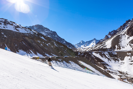 ski in chile on a sunny day with lots of snow. South America.