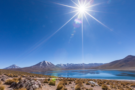 Lagunas Altiplanicas, Miscanti y Miniques, amazing view at Atacama Desert. Chile, South America. 版權商用圖片