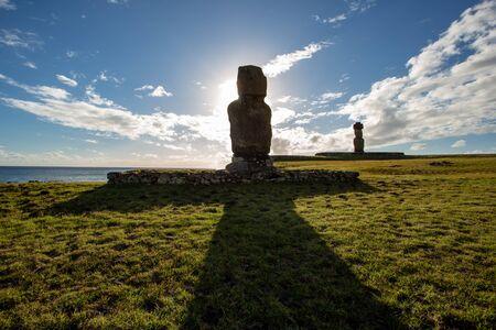 Moais in Ahu Vai Uri, Tahai Archaeological Complex, Rapa Nui National Park, Easter Island, Chile.