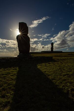 Moais in Ahu Vai Uri, Tahai Archaeological Complex, Rapa Nui National Park, Easter Island, Chile. 写真素材 - 127423172