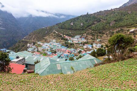 Namche Bazaar village on the way to Everest Base. Nepal. Asia.