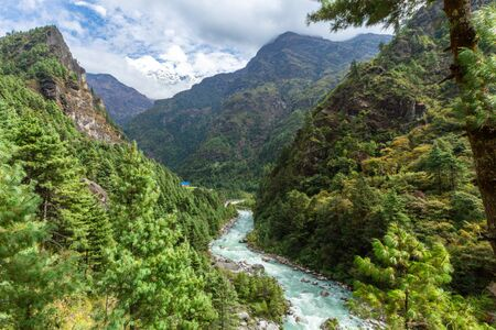 Everest in Nepal. Trekking to Everest Base Camp. Nepal. Asia. Amazing river.