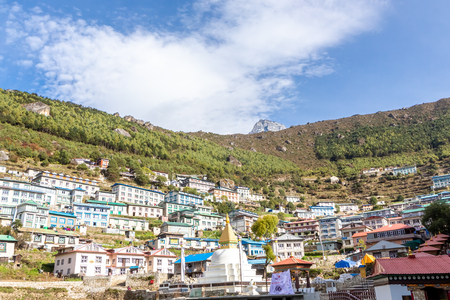 Namche Bazaar village on the way to Everest Base. Nepal. Asia.