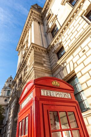 Red phone booth in London. United Kingdom, Europe. Stockfoto