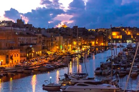 Boats in port of Valletta, Malta.
