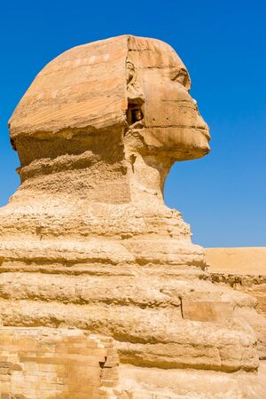 The Sphinx and Pyramid, Cairo, Egypt.