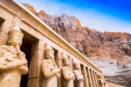 Hatchepsut Temple. The Tombs of the Nobles, located on the West Bank's cliffs used to be where Elephantine island's governors. Egypt, Africa.
