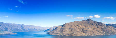 Queenstown in New Zealand. The city of adventure and nature. Web banner.