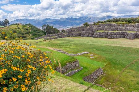 Sacsayhuaman fortress, Inca ruins in Cusco or cuzco town, Peru, South America.