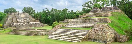 Belize, Central America, Altun Ha Temple. Web banner in panoramic view. 版權商用圖片