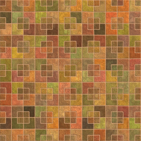 Pavement Terracotta Tiles Geometric Pattern Seamless and Tileable Background Texture.