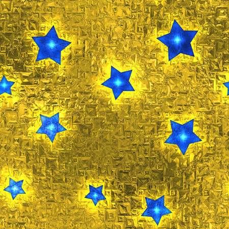 aluminum foil: Seamless and Tileable Blue Stars Gold Foil Sparkling Holiday Background.