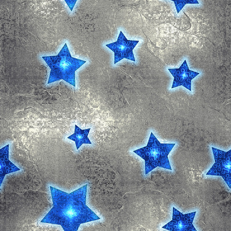 shiny argent: Seamless and Tileable Blue Stars Silver Foil Sparkling Holiday Background. Stock Photo
