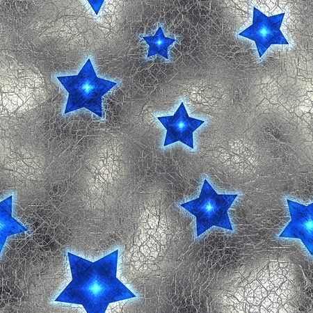 aluminum foil: Seamless and Tileable Blue Stars Silver Foil Sparkling Holiday Background. Stock Photo
