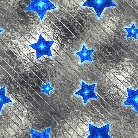 argent: Seamless and Tileable Blue Stars Silver Foil Sparkling Holiday Background. Stock Photo