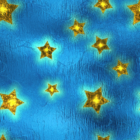 Seamless and Tileable Gold Stars Blue Foil Sparkling Holiday Background. Stock Photo