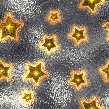 argent: Seamless and Tileable Gold Stars Silver Foil Sparkling Holiday Background. Stock Photo