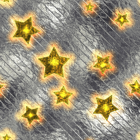aluminum foil: Seamless and Tileable Gold Stars Silver Foil Sparkling Holiday Background. Stock Photo