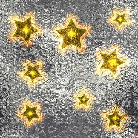 shiny argent: Seamless and Tileable Gold Stars Silver Foil Sparkling Holiday Background. Stock Photo