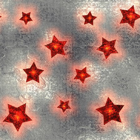 silvery: Seamless and Tileable Red Stars Silver Foil Sparkling Holiday Background. Stock Photo