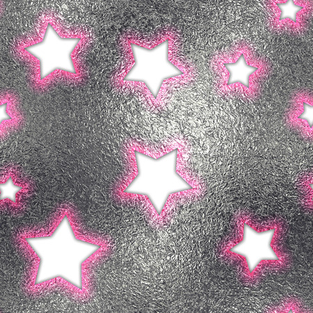 shiny argent: Seamless and Tileable Stroked Stars Silver Foil Sparkling Holiday Background. Stock Photo