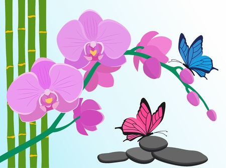 Floral design background. Pink orchid flowers, bamboo stalks and butterflies on blue background. Illustration