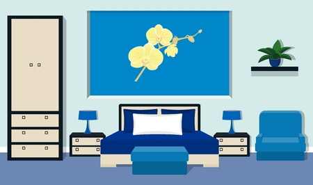 bedside lamp: Bedroom interior with furniture - bed, bedside tables, bedside lamp, wardrobe, bench, chair in blue colors. Illustration