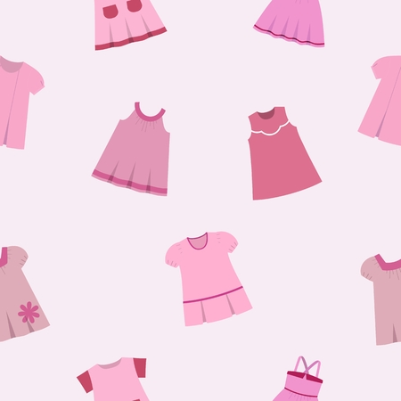 cute baby girls: Seamless pattern with fashionable childrens dresses on gray-pink background. Collection cute clothes for baby girls.