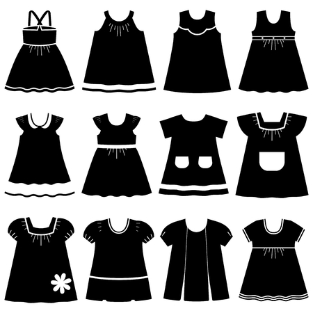 habiliment: Icon set childrens summer dresses. Collection cute clothes for girls on white background. Illustration