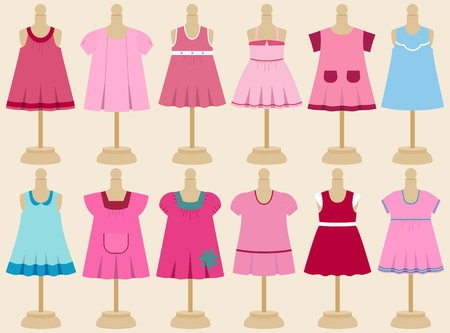 babys dummies: Set of childrens dresses for girls on mannequins.