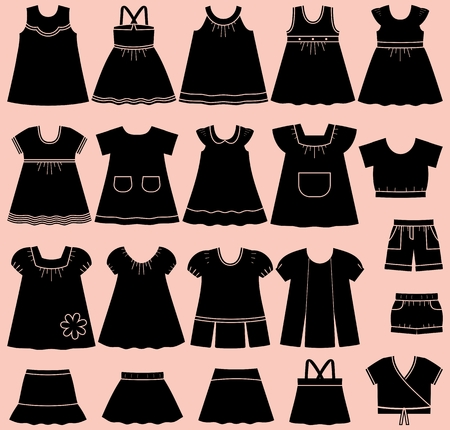 Icon set children's summer clothes for girls. Collection of clothing on pink background.