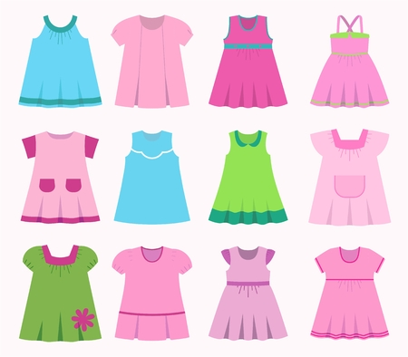 Set Childrens Summer Dresses Collection Cute Clothes For Girls Royalty Free Cliparts Vectors And Stock Illustration Image 62968700