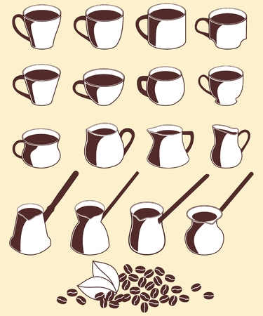 milk jug: Brown-white icon set cups and bean of coffee, milk jug, pots on a beige background