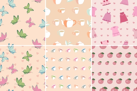 habiliment: Set of seamless patterns and backgrounds in pink with butterflies, cups, apples, baby dress. Pastel shades, color of a tea rose.