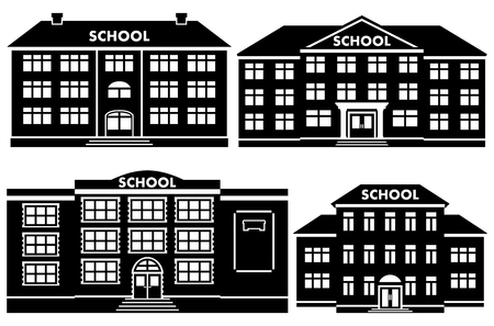 Icon set different types of school buildings. Schoolhouses silhouettes on white background