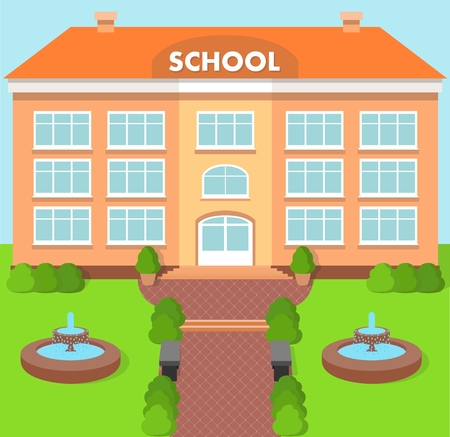 School building over landscape background with fountain Ilustrace