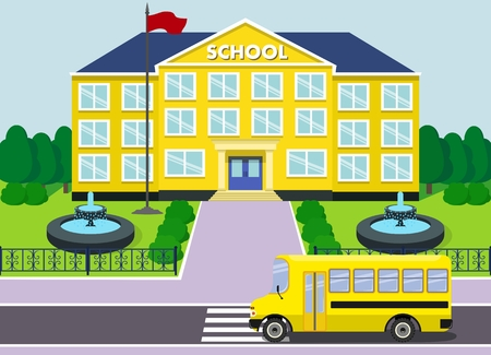 schoolhouse: Schoolhouse over landscape background with school bus and fountain