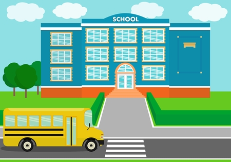 School building over landscape background with school bus