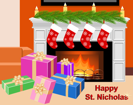 Fireplace with socks and gift boxes in celebratory interior. Happy St. Nicholas.