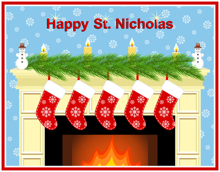 Festive fireplace with red socks, candles and fir-tree branches. Happy St. Nicholas.