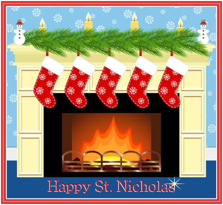 st  nicholas: Festive fireplace with red socks, candles and fir-tree branches. Happy St. Nicholas.