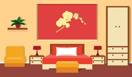 bedside lamp: Bedroom interior with furniture - bed, bedside tables, bedside lamp, wardrobe, bench, chair in red and orange colors.
