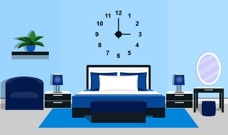 bedside lamps: Bedroom interior with furniture - bed, tables, bedside lamps, bench, armchair, clock, mirror, ottoman in blue colors, flat style. Illustration