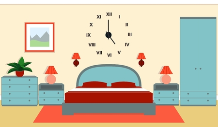 bedside: Bedroom interior with furniture - bed, nightstands, bedside lamps, wardrobe, chest of drawers in blue and red colors.