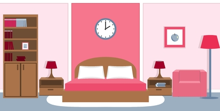 nightstands: Bedroom interior with furniture - bed, nightstands, bedside lamps, bookcase, armchair in pink colors.